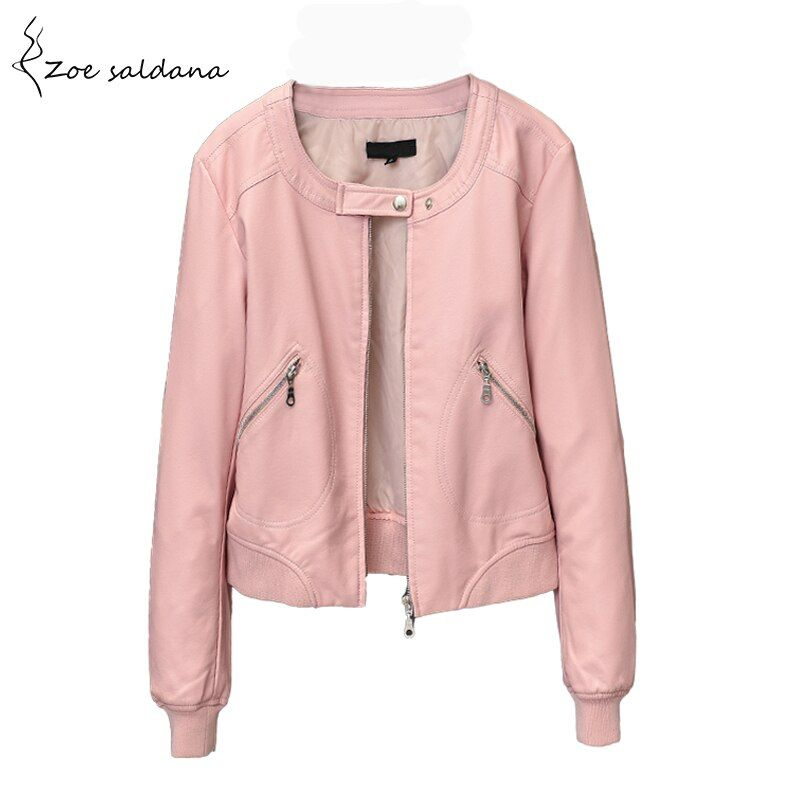 Zoe Saldana 2018 Faux Leather jacket Women O-neck Zipper Casual Jacket Female Short Jacket Coat Plus Size S-5XL