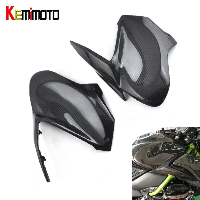 KEMiMOTO For kawasaki Z900 2017 side tank cover Gas Tank Cover Cowl Carbon Fiber Moto Z900 Accessories parts For kawasaki Z 900