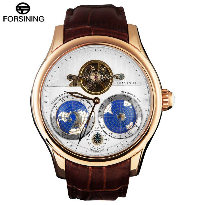 FORSINING Top Brand Business Mechanical Watches Men 30M Waterproof Tourbillon Automatic Wrist Watch 3D Earth Dial Leather Band