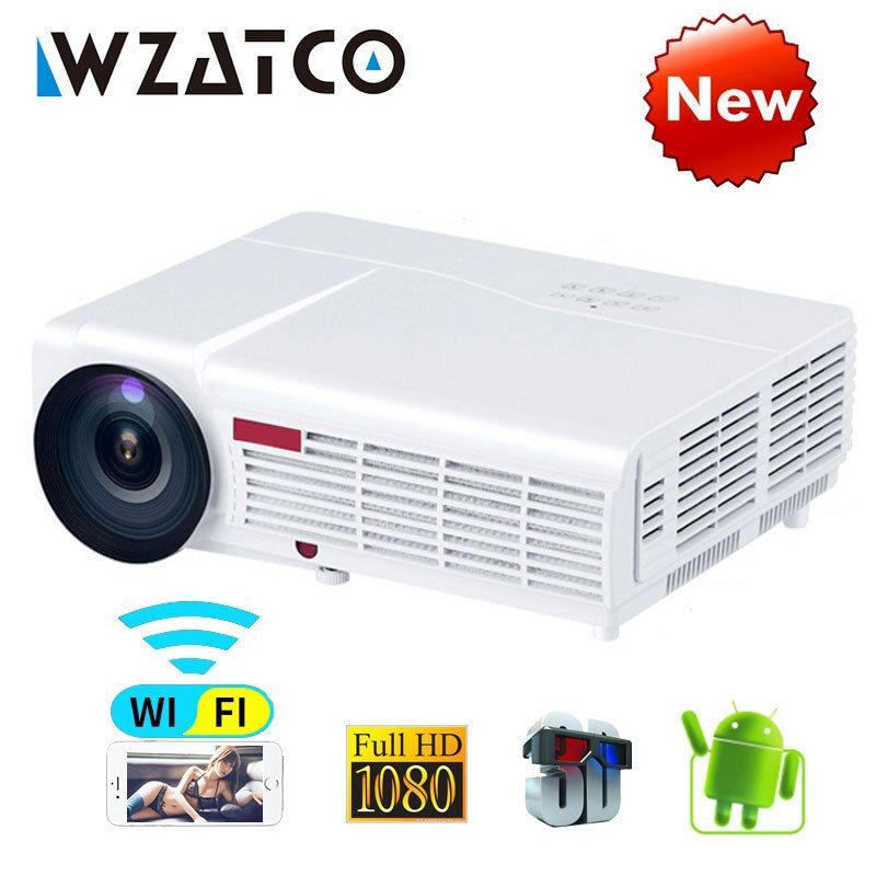WZATCO LED96W LED 3D Projector 5500Lumen Android 6.0 Smart Wifi full HD 1080P support 4k Online video Beamer Proyector for home