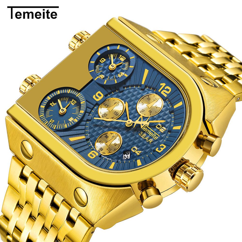 TEMEITE Relogio Masculino Top Brand Luxury Square Quartz Watches Men Sport Military Waterproof Wristwatch Male Gold Steel Clock