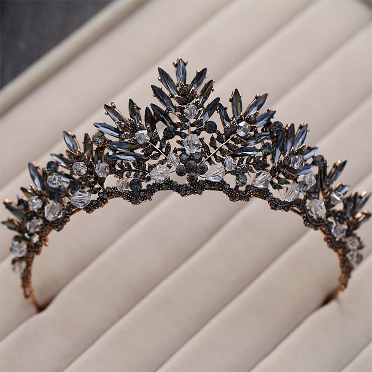 Baroque Bronze Black Crystal Beads Bridal Tiaras Rhinestone Diadem Pageant Crown for Brides Headbands Wedding Hair Accessories