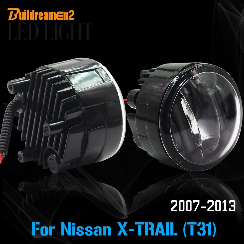 Buildreamen2 2 Pieces Car LED Light Fog Light + Daytime Running Lamp DRL Accessories For 2007-2013 Nissan X-Trail T31
