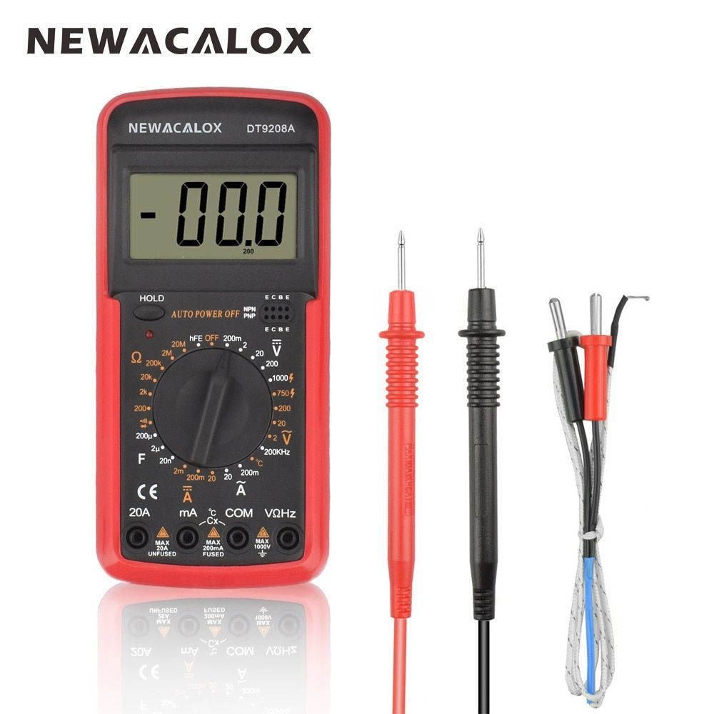 NEWACALOX LCD Temperature Tester Digital Multimeter AC/DC Voltage Current Resistance Capacitance Measurement Tool with Battery