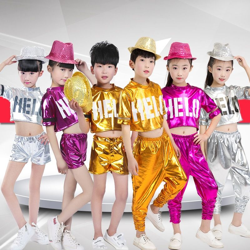 New 2018 Girls Boys Fashion Jazz Hip Hop Stage Dance Clothing Sets Tracksuit For Boys Girls Top+Pants Dance Costume Clothes 22