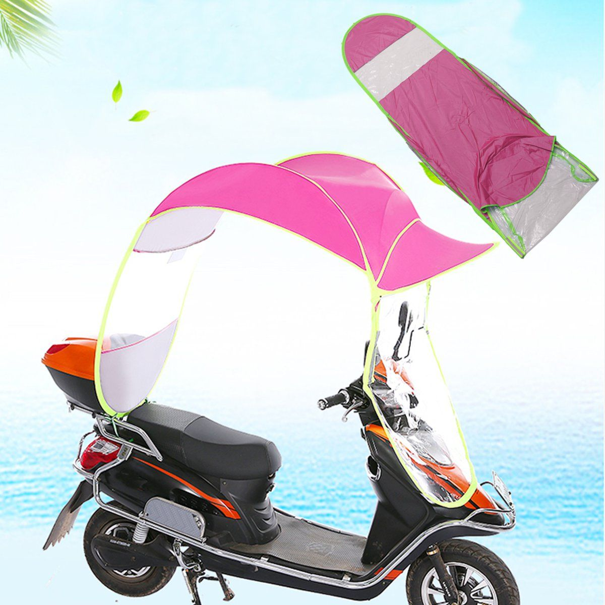 Mofaner Motorbike Scooter Rain Cover Sun Shade Motorcycle Electric Vehicle Umbrella Raincoat Poncho Cover Shelter 2.8*0.8*0.7M