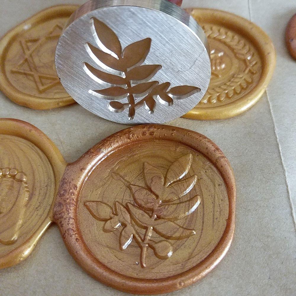 Leaf FLOWER wax seal stamp,Envelope seal DIY sealing wax stamp vintage custom design box set wood metal handle deco KIT WAX