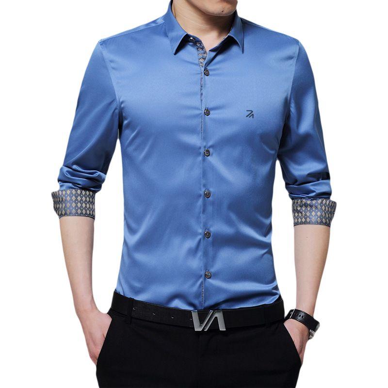 DUDALINA Casual Men's Print Shirt Business Social Men Clothes Slim Fit Mercerized cotton Men shirts Purple/White/blue/