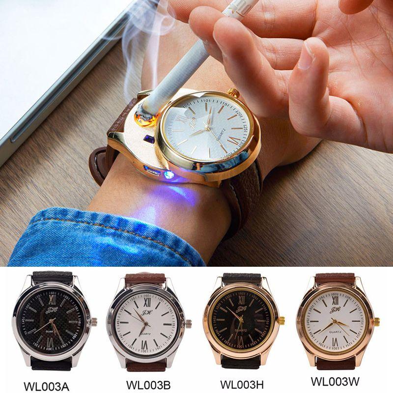 Rechargeable USB Lighter Watches date clock Electronic Men's Casual Quartz Wristwatches Windproof Flameless Cigarette Lighter 33