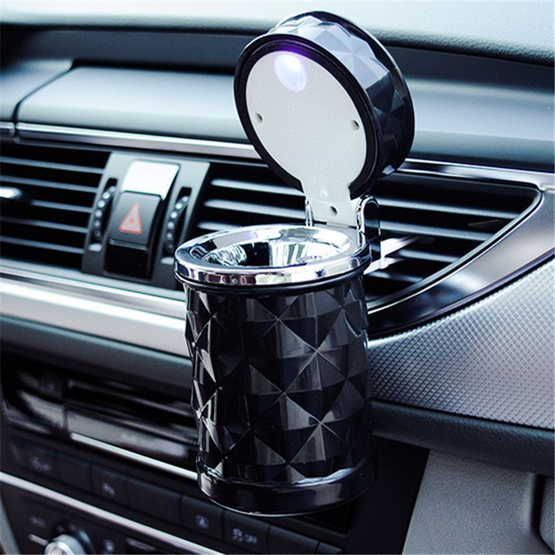 Car Accessories Portable LED Light Car Ashtray Universal Cigarette Cylinder Holder Car Styling Mini Car Interior Supplies