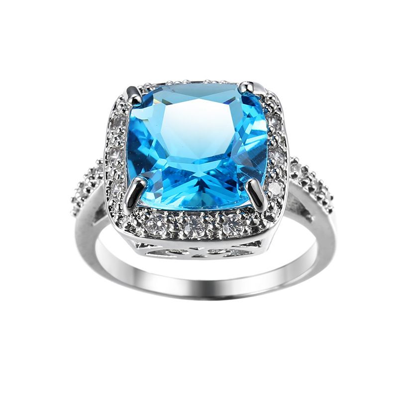 Fashion Quality Real Sterling Silver Ring 2ct Wedding Engagement Brand rings Light blue Crystal Jewelry for Women Gift