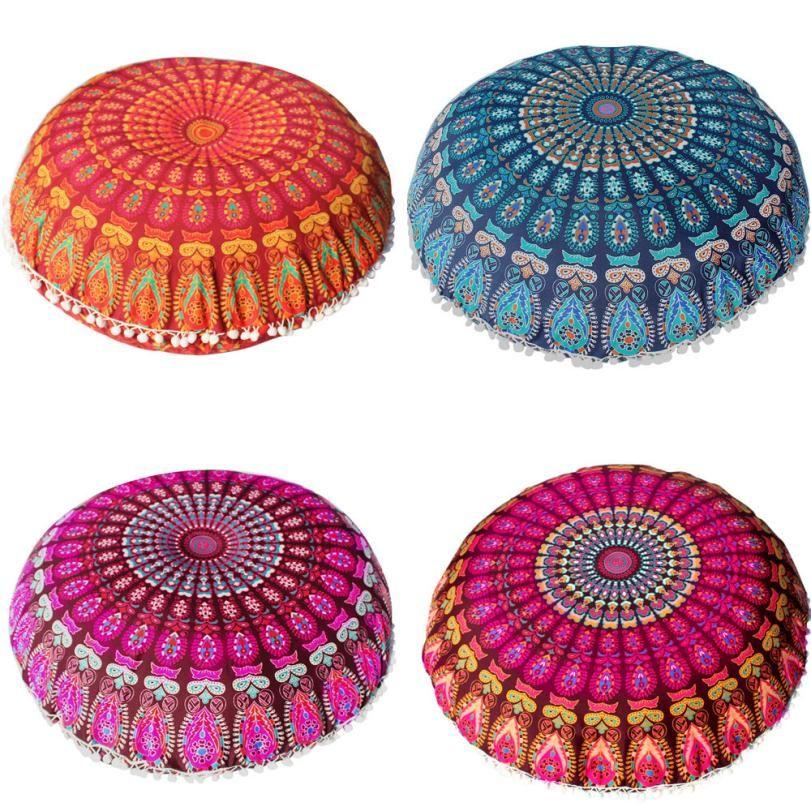 80*80cm Large Mandala Floor Pillows Round Bohemian Meditation Cushion Cover Ottoman Pouf 2AU30
