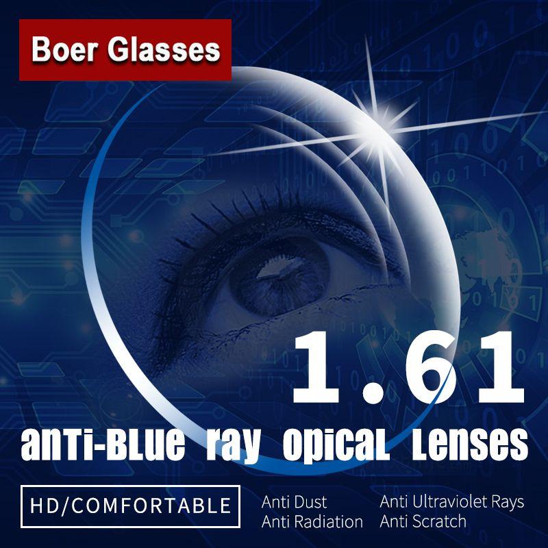 1.61 Anti-Bleu Ray Simple Vision Asphériques Lentilles Optiques Prescription Lunettes Lunettes Vision Degré Lentille pour Lunettes Cadre