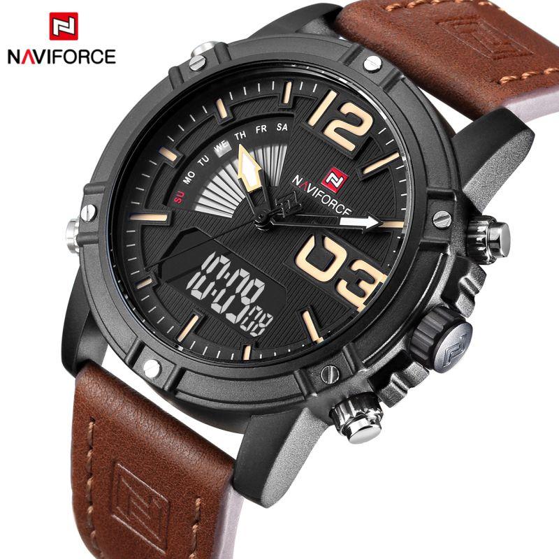 Top Luxury Brand NAVIFORCE Men Sports Watches Men's Leather Quartz Analog LED Clock Male Military Wrist watch Relogio Masculino