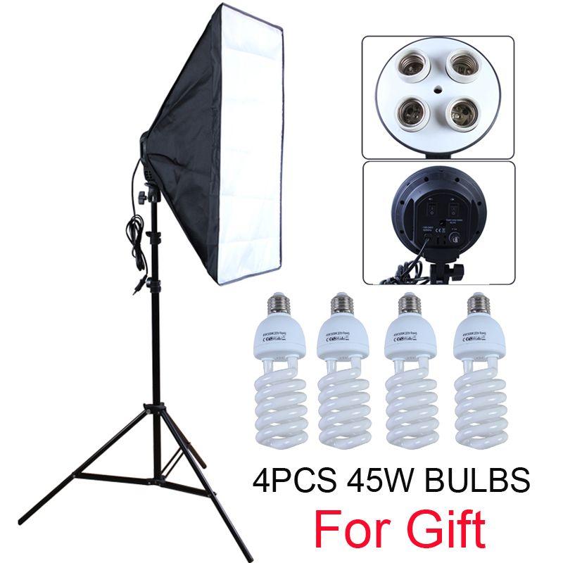 Diffuseur de Studio Photo 50*70cm Softbox E27 4 support de lampe éclairage continu Kit de boîte souple comprend un support de lumière avec des ampoules 45w