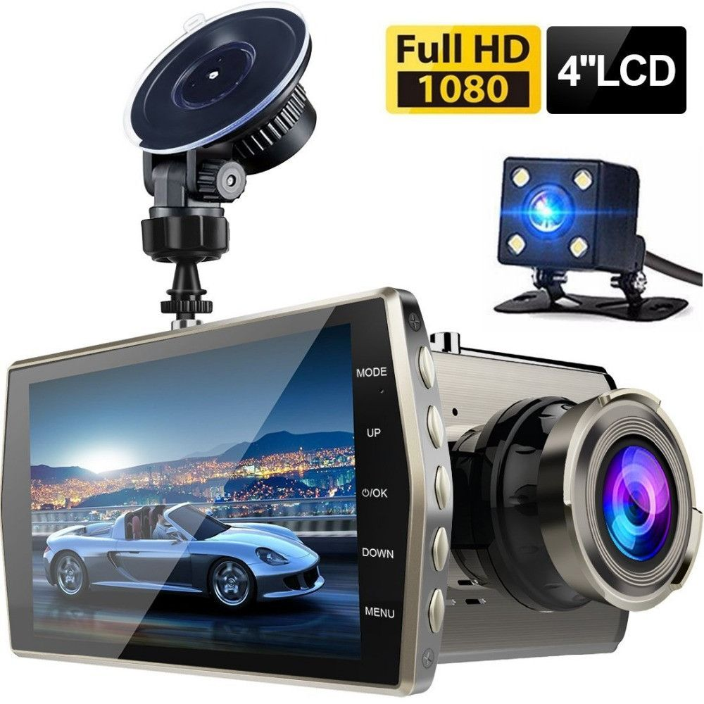 Dash Cam Dual Lens Car DVR Vehicle Camera Full HD 1080P 4