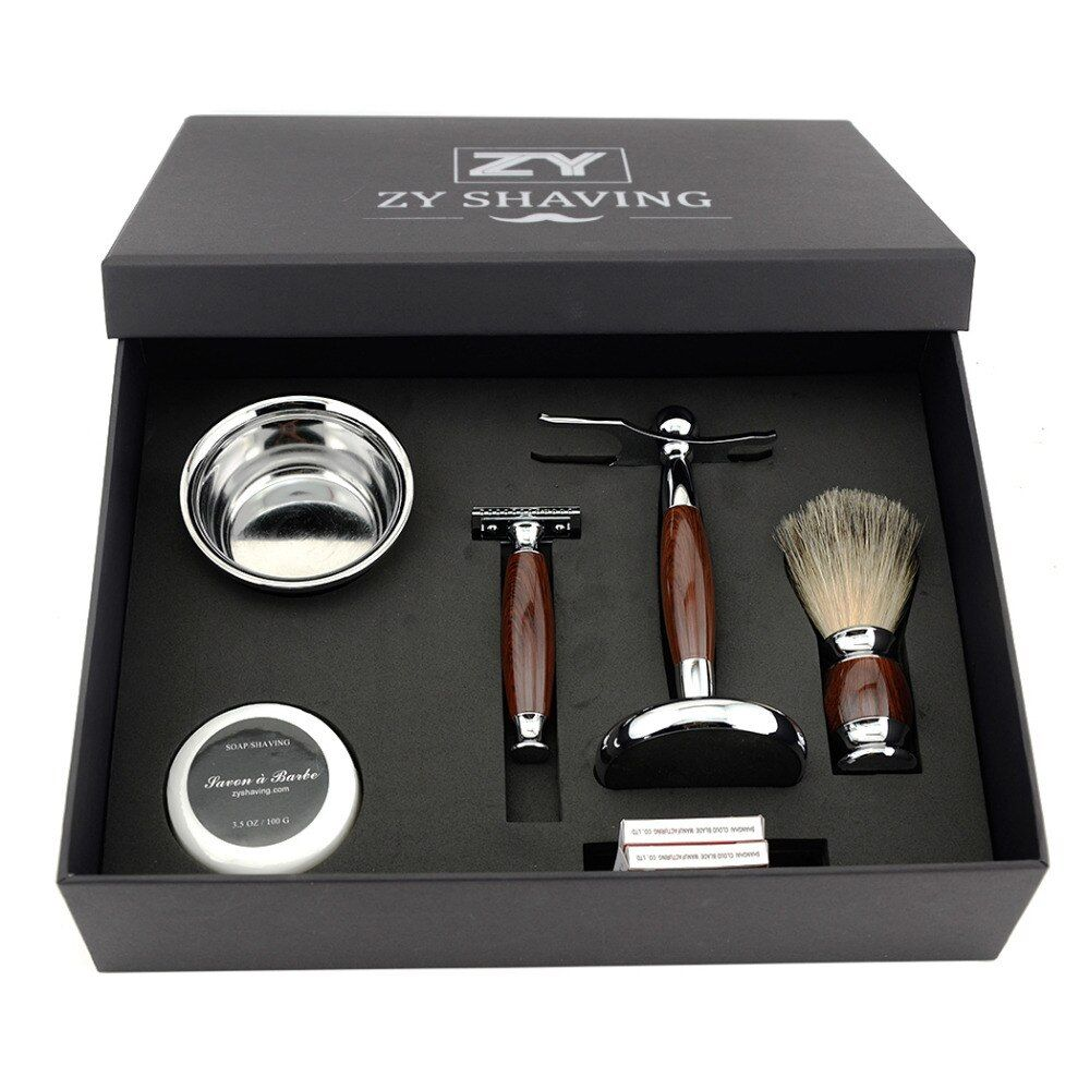 ZY Men Luxury <font><b>Shaving</b></font> Gift Set Kit Double Edge Safety Razor Badger Hair <font><b>Shaving</b></font> Brush Holder Stand +Mug Bowl +Shave Beard Soap