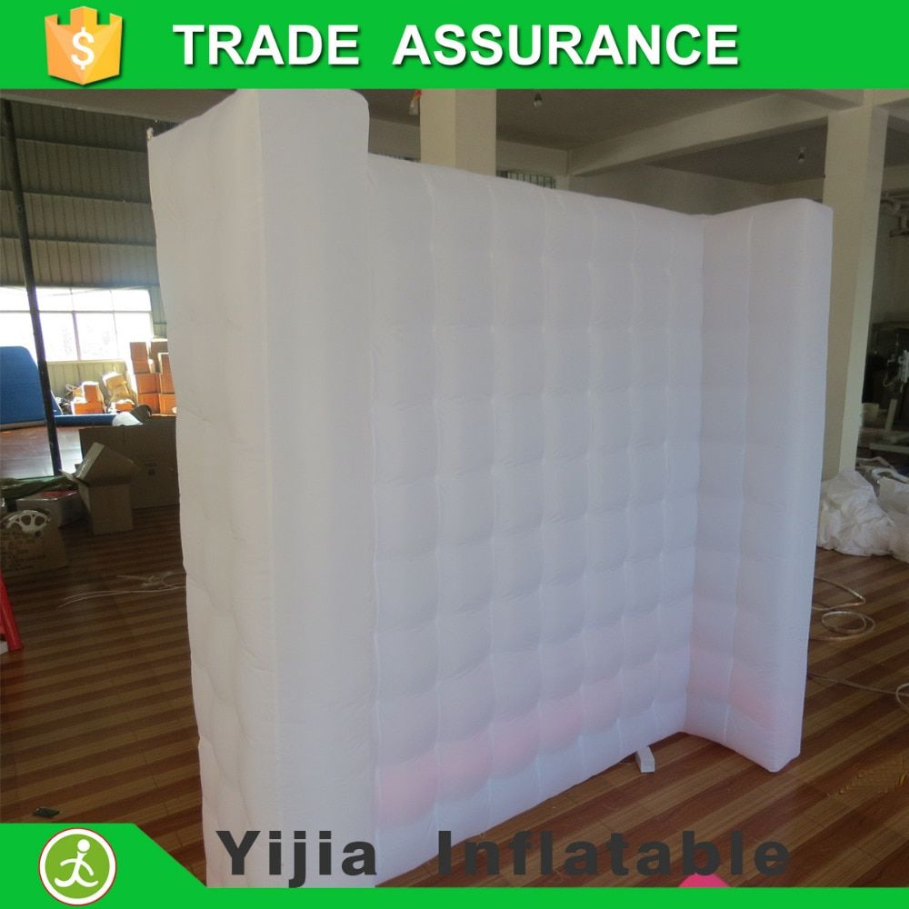 New attractive white led strip photo booth open air wall inflatable wall for wedding