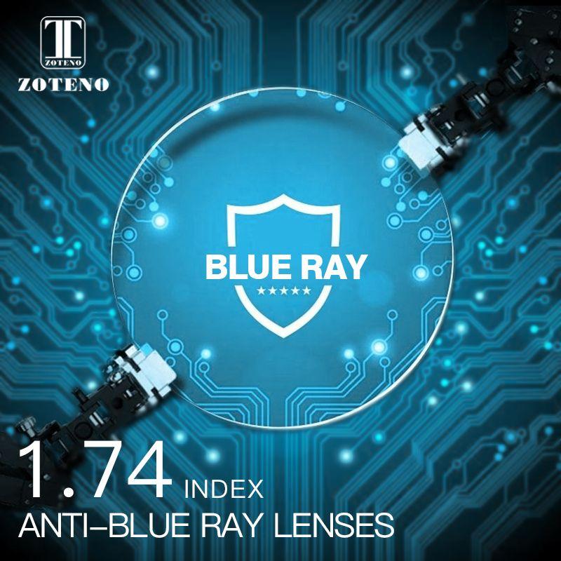 1,74 Index Anti blue ray Linsen Monofocal Asphärische Harz Vision Myopie Hyperopie Presbyopie Optische Brillen Objektiv