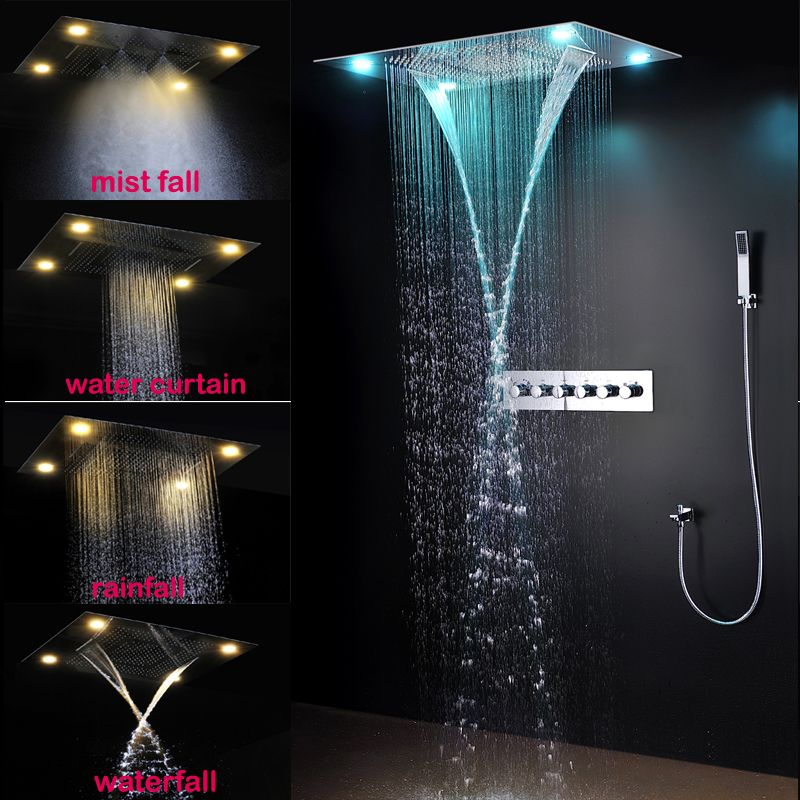 Luxurious LED Shower System Ceiling Mount Rain Head set big rain shower head,dual rain and waterfall shower sets