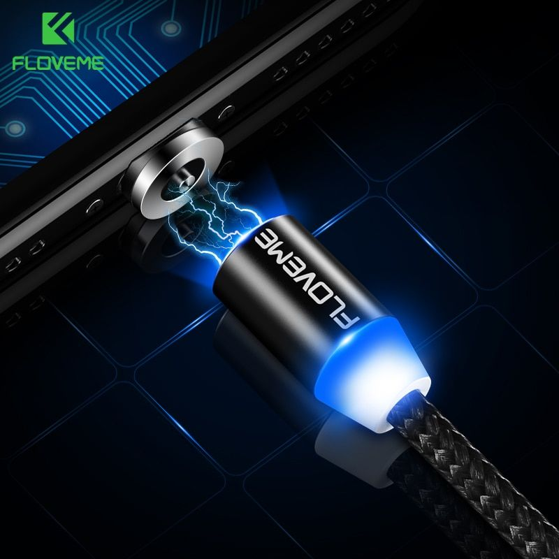FLOVEME LED 3 in 1 Magnetic Cable For iPhone X Samsung Lighting 1M Charging Nylon Braided Micro USB Type C Magnet Charger Cable