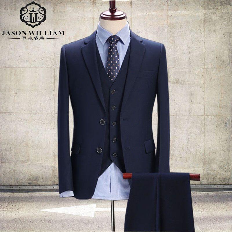 LN043 Dark Blue Men Suit, Tailor Made Suit, Bespoke Navy Blue Wedding Suits For Men, Slim Fit Groom Tuxedos (jacket +pant+vest)