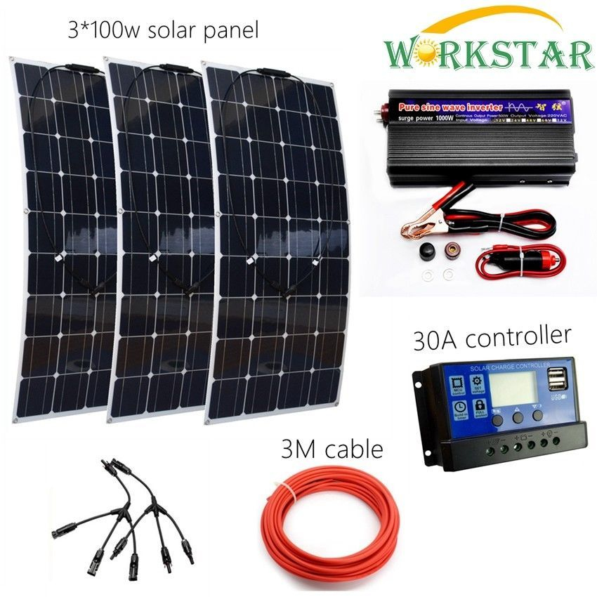 Complete Off Grid 300W Solar System for Beginner 3pcs 100w Flexible Solar Panel Modules with 1000w Inverter and 30A Controller