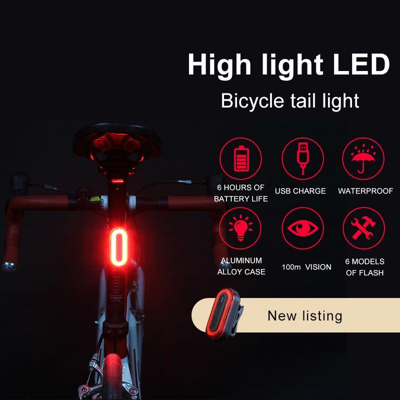 USB Rechargeable vélo feu arrière vélo LED feu arrière lampe pour signe de vélo pliant vélo accessoires LED vélo lumière