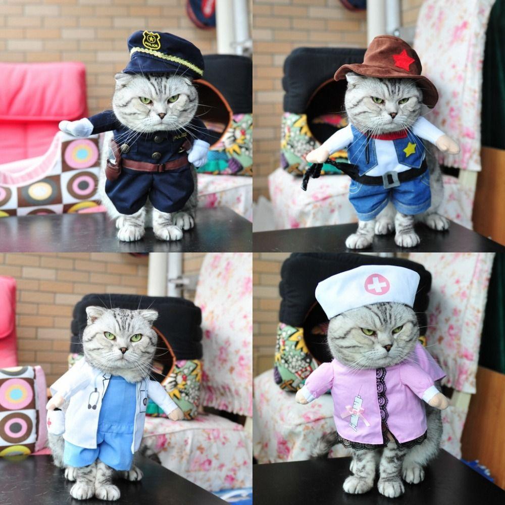Divers Costume drôle pour animaux de compagnie chien chat Costume chat vêtements Sexy infirmière policier Cowboy marin uniforme chapeau tenue d'affaires