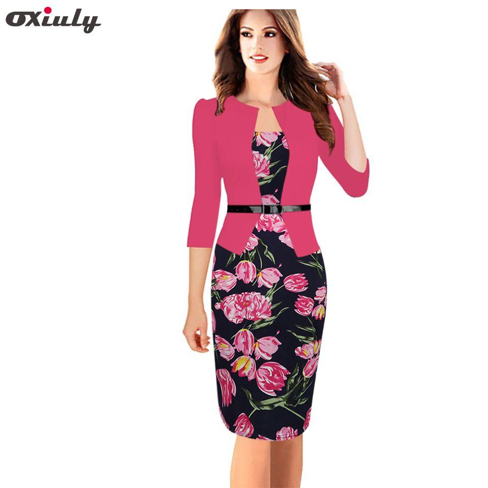 Oxiuly One-piece Faux Jacket Flower Print Work Dress Bodycon Female 3/4 Sleeve Sheath Bodycon Office Lady Dresses Vestidos