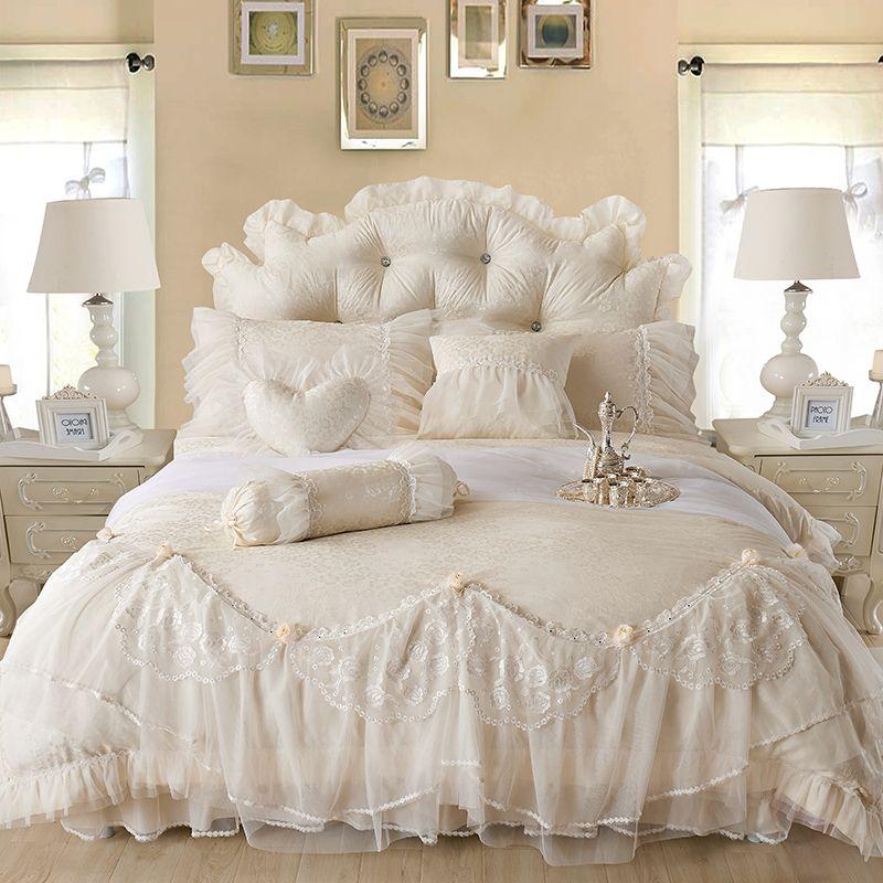 Cotton Jacquard Lace Princess Bed set Luxury Wedding Bedding Sets Queen King size Bedlinen Sheet Boho Duvet Cover Set Bedclothes