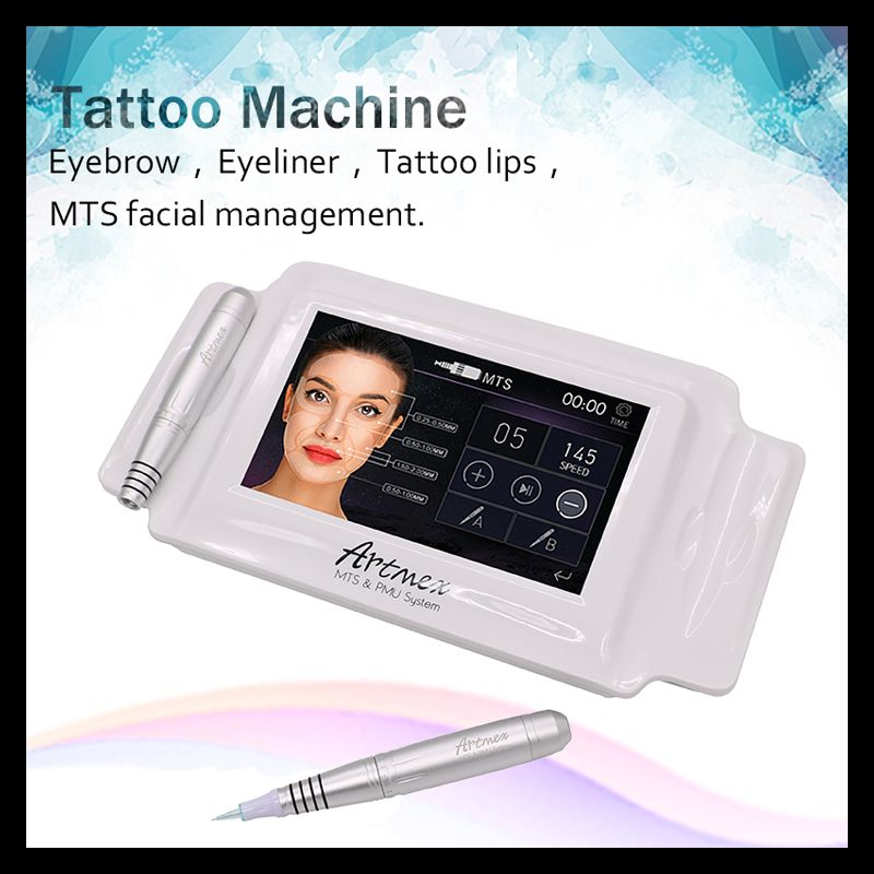High Quality Permanent Makeup machine digital Artmex V8 touch Tattoo Machine set Eye Brow Lip Rotary Pen MTS System tattoo gun