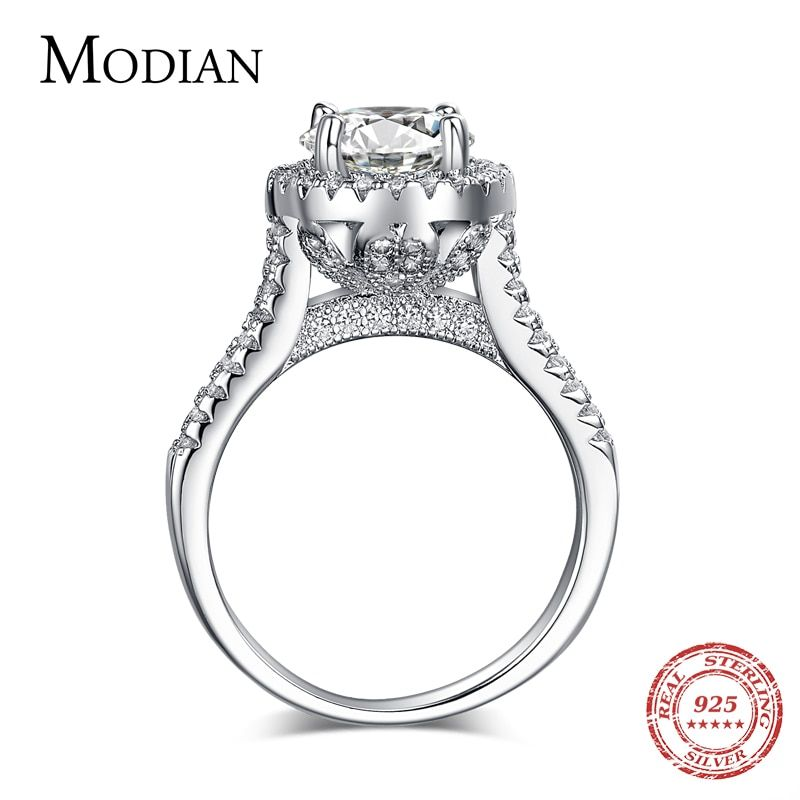 Offre Spéciale Mode De Luxe Femmes Engagement Bijoux 925 sterling Argent 5A ZC Cristal Zircon De Mariage des Femmes Doigt Fleur Anneaux