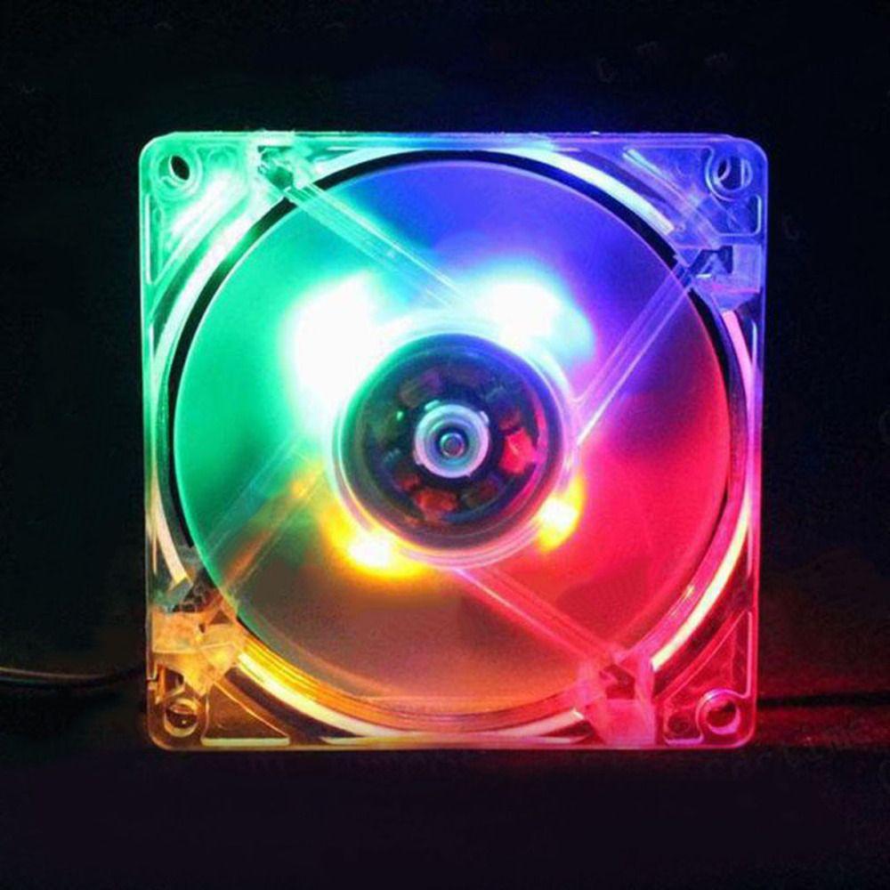 Computer PC Fan 80mm Mit LED 8025 Geräuscharmen Lüfter 12 V FÜHRTE Leuchtende Chass Pc-gehäuse Lüfter Mod Einfach installiert