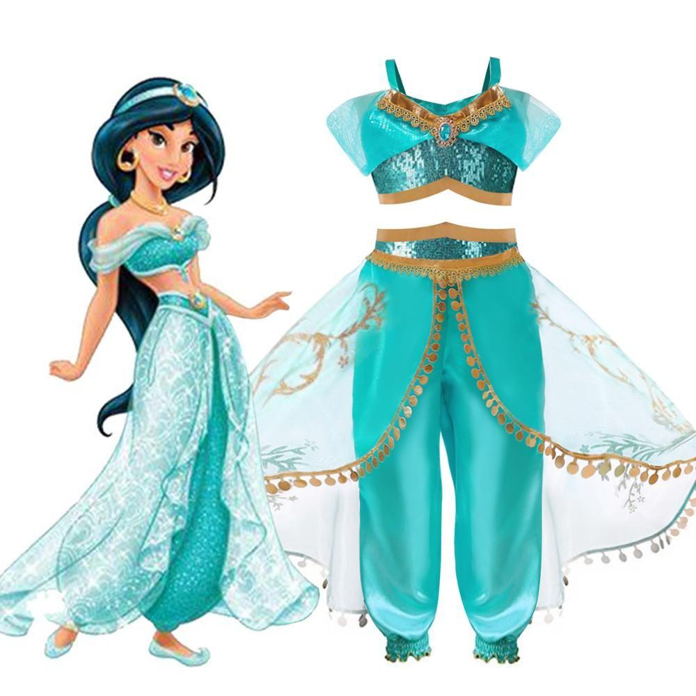 Halloween fête de noël Cosplay enfants filles princesse jasmin Costumes pour enfants fête ventre danse robe Costume indien 2ps