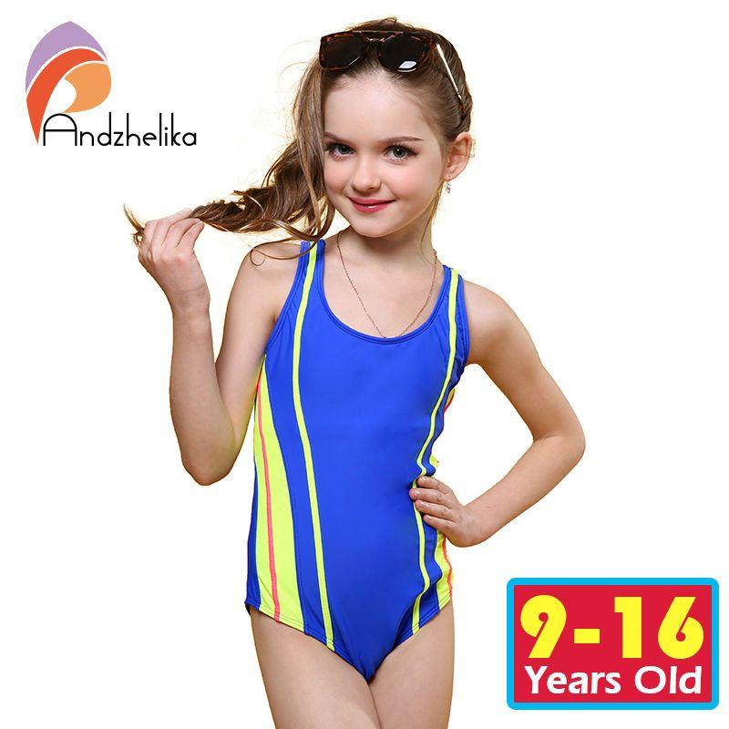 Andzhelika One Piece Children Swimsuit Girls Summer Patchwork Solid Swimwear Sports Bodysuit Girl Swim Suits Bathing Suit AK8911