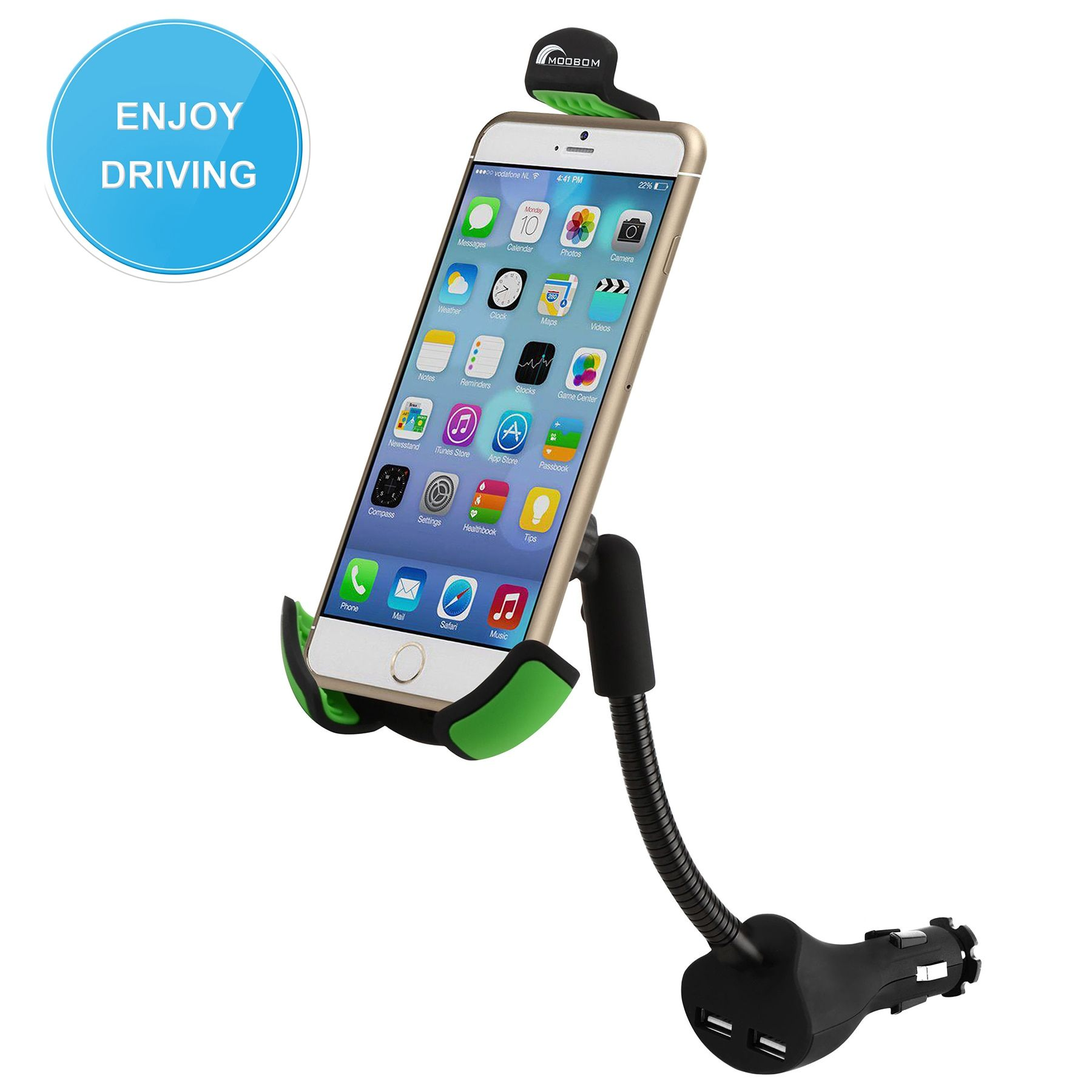 YINKUU HC84K Dual USB 2.1A Over Charger Current Protection S2EG Car Mount  Phone Holder VG001 T10