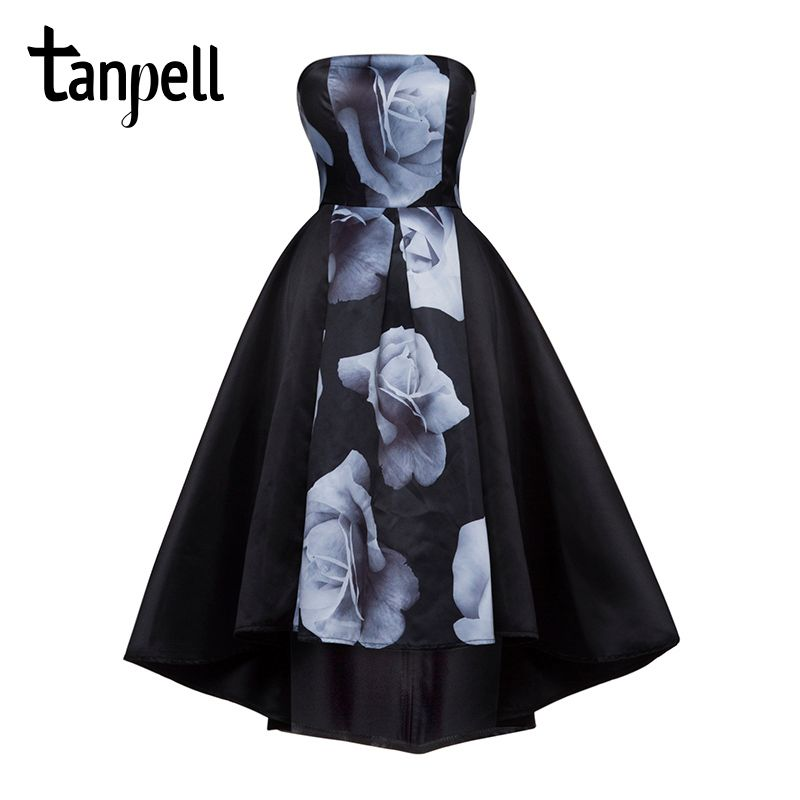 Tanpell strapless cocktail dress black sleeveless printed knee length a line gown cheap women short party prom cocktail dresses