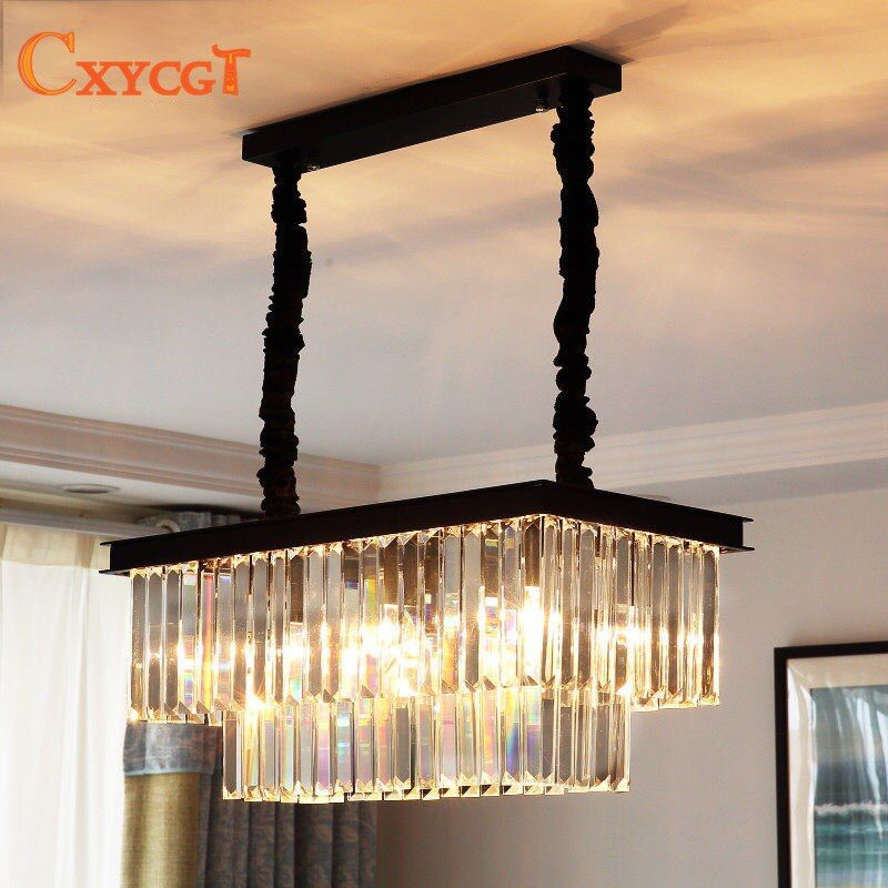 Best Price American Country Crystal Chandelier Dining Room Creative Rectangular Crystal Pendant Lamp LED Lighting RH Chandelier