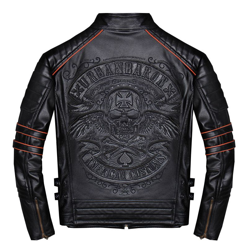 2019 Black Men Skulls Embroidery Slim Fit Biker's Leather Jacket Plus Size 4XL Real Cowhide Short Motorcycle Coat FREE SHIPPING