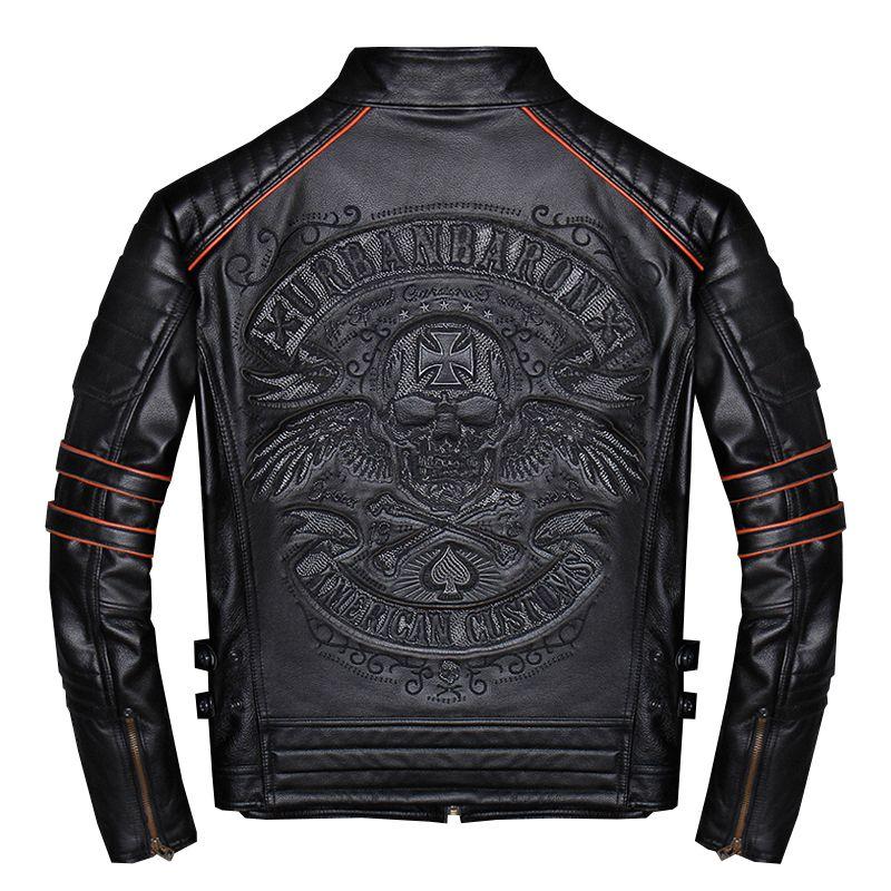 2019 schwarz Männer Schädel Stickerei Slim Fit Biker der Leder Jacke Plus Größe 4XL Echt Rindsleder Kurze Motorrad Mantel FREIES VERSCHIFFEN