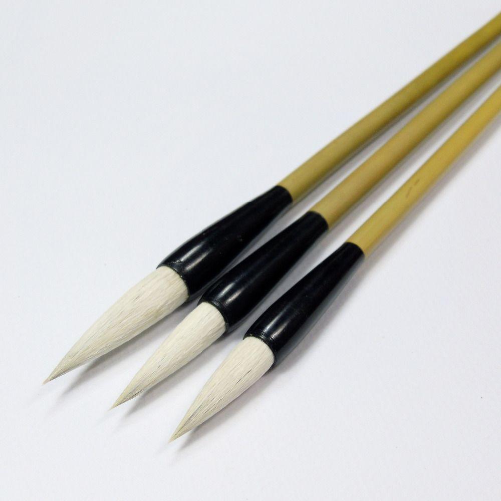 3 шт. несколько волосков каллиграфия Кисточки Pen Set китайский Кисточки живопись шерстяные и фиолетовый кролик волос записи Кисточки бамбуко...