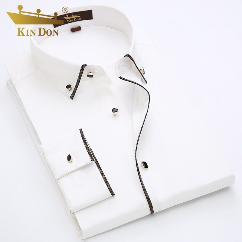 KIN DON marke männer tuxedo shirts goldenen rand design langarm kleid shirt für männer hohe qualität slim fit social business-hemden