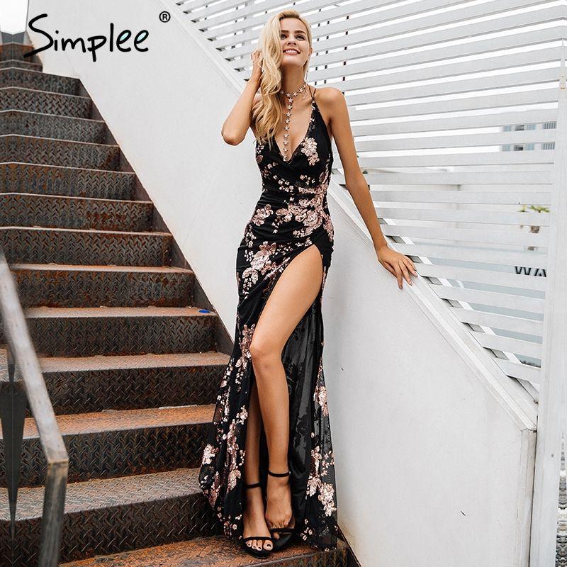 Simplee Sexy lace up halter sequin party dresses women Backless high split maxi dress women Christmas 2017 long dress vestidos