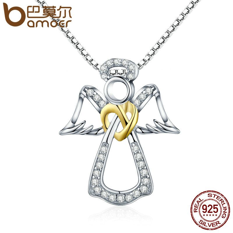 BAMOER Authentic 925 Sterling Silver Guardian Angel Heart Pendant Necklaces Dazzling CZ Luxury Sterling Silver Jewelry SCN123