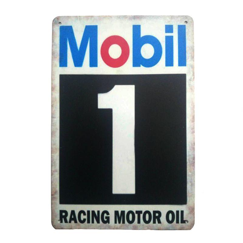 Carreras de aceite de motor Mobil. placa de estaño signos retro metal de la vendimia de hierro cuadro de la pared para cafe bar en casa de garaje