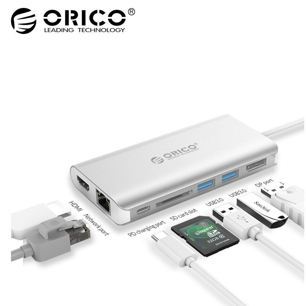 ORICO 7in1 Type-C Aluminum Laptop Docking Station USB C to Card Reader DisplayPort HDMI 4K USB3.0 Type C PD Adapter For MacBook