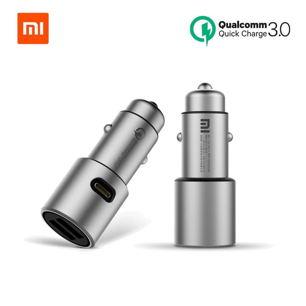 Chargeur de voiture d'origine Xiao mi Charge rapide 18W QC 3.0 double USB Max 36W 5 V/3A 9V 2A métal pour iPhone Samsung Huawei oppo vivo