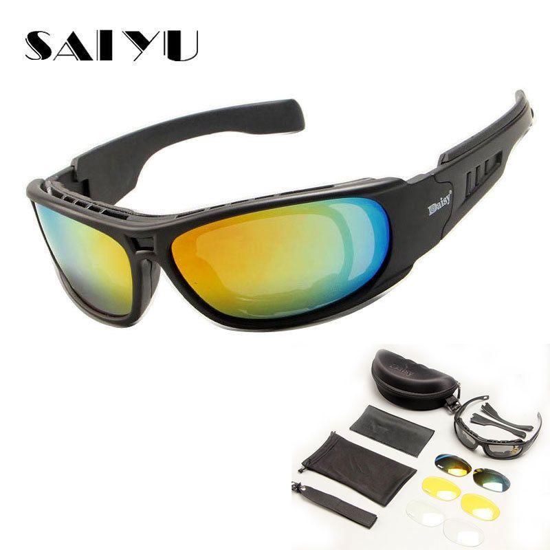 SAIYU Tactical C6 Glasses Military Goggles Bullet-proof Army Sunglasses With 4 Lens Men Shooting Eyewear Motorcycle Gafas