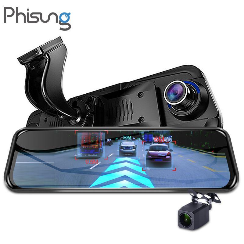 Phisung 4G Streaming Android voiture DVR spécial 10 rétroviseur tactile FHD 1080 P double caméra tableau de bord ADAS WiFi GPS registraire dvrs